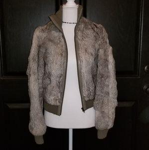 Vintage DKNY Brown Rabbit Fur & Leather Jacket